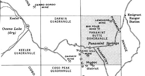 Map Shows Panamint Butte Quadrangle S Location In Respect To Darwin Owens Lake Near Us 395 And Cerro Gordo Death Valley Proper Is Just Over The